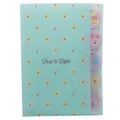 小禮堂 迪士尼 小熊維尼 日製 資料夾 A4 分類文件夾 檔案夾 L夾 (綠黃 大臉)