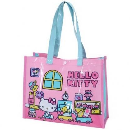 小禮堂 Hello Kitty 透明海灘袋 游泳袋 側背袋 防水提袋 泳具袋 (粉 玩具)