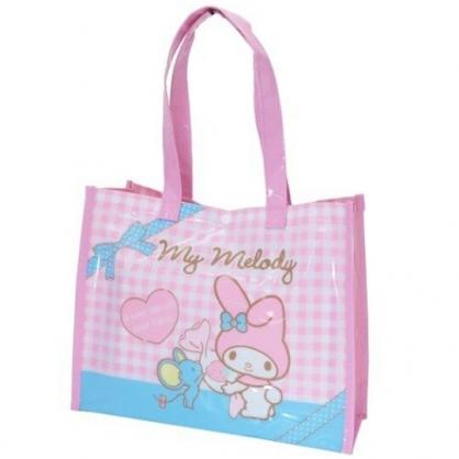 小禮堂 美樂蒂 透明海灘袋 游泳袋 側背袋 防水提袋 泳具袋 (粉藍 格紋)