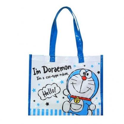 小禮堂 哆啦A夢 透明海灘袋 游泳袋 側背袋 防水提袋 泳具袋 (藍白 三隻)