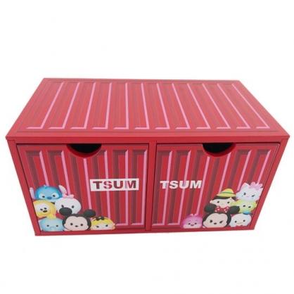 小禮堂 迪士尼 TsumTsum 木製收納盒 橫式 雙抽 抽屜盒 置物盒 貨櫃造型 (紅)