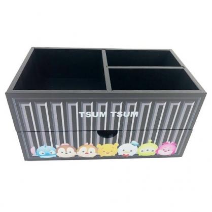 小禮堂 迪士尼 TsumTsum 木製收納盒 橫式 單抽 三格 抽屜盒 置物盒 筆筒 貨櫃造型 (黑)