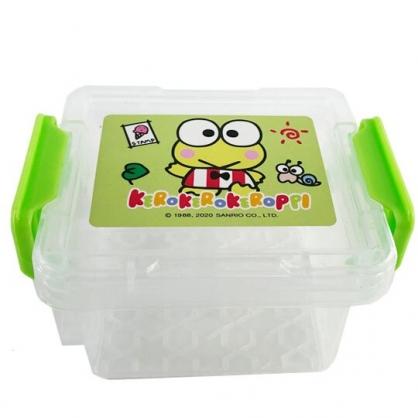 小禮堂 大眼蛙 迷你 收納盒 雙扣 方形塑膠 置物盒 飾品盒 文具盒 (綠 招手)