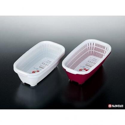 小禮堂 日本NAKAYA 日製 瀝水籃 方形 塑膠 蔬果籃 洗菜籃 置物籃 可堆疊 (2入 2款隨機)