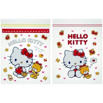 小禮堂 Hello Kitty 夾鏈袋 密封袋 分類袋 透明袋 收納袋 方形透明 (20入 紅 餅乾)