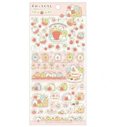 小禮堂 角落生物 日製 透明貼紙 手帳貼紙 裝飾貼紙 黏貼用品 卡片裝飾 (紅 草莓)