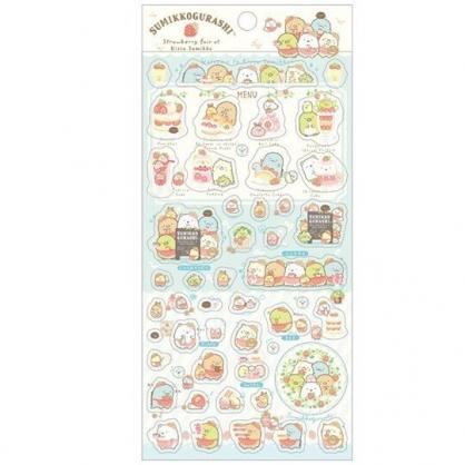 小禮堂 角落生物 日製 透明貼紙 手帳貼紙 裝飾貼紙 黏貼用品 卡片裝飾 (綠 草莓)