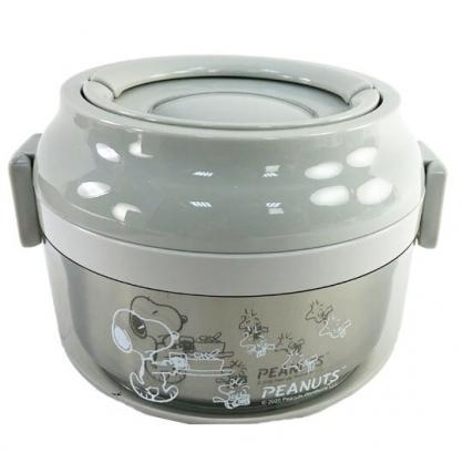 小禮堂 史努比 隔熱便當盒 圓形 雙扣 304不鏽鋼 手提式 保鮮盒 餐盒 850ml (灰 拿食物)