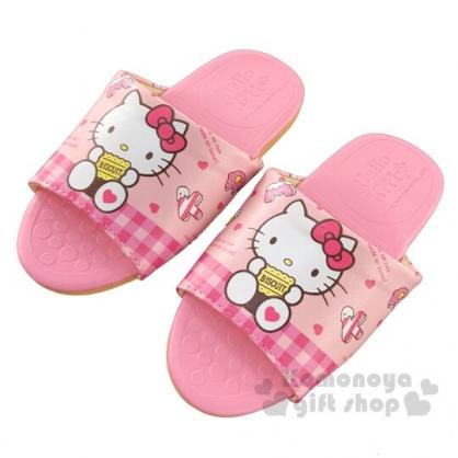 〔小禮堂〕Hello Kitty 兒童皮質拖鞋《粉.拿餅乾》室內拖鞋.皮拖