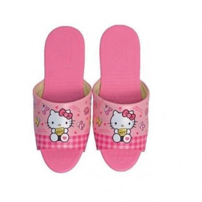 〔小禮堂〕Hello Kitty 成人皮質拖鞋《粉.拿餅乾》室內拖.皮拖