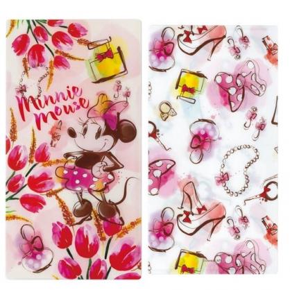 小禮堂 迪士尼 米妮 日製 口罩夾 收納夾 口罩套 口罩收納 抗菌加工 (粉黃 花朵)
