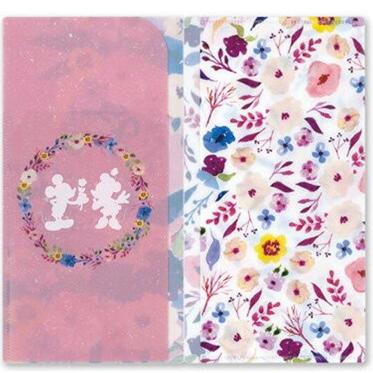 小禮堂 迪士尼 米奇米妮 日製 口罩夾 收納夾 口罩套 口罩收納 抗菌加工 (粉紫 花朵)