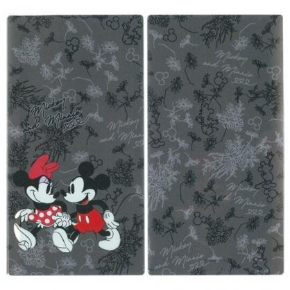 小禮堂 迪士尼 米奇米妮 日製 口罩夾 收納夾 口罩套 口罩收納 抗菌加工 (深灰 牽手)