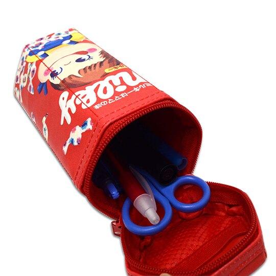 小禮堂 不二家PEKO 拉鍊筆袋 皮質 六角形 化妝包 收納包 刷具包 鉛筆盒 (紅 糖果)