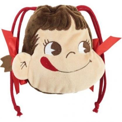 小禮堂 不二家PEKO 束口袋 絨毛 縮口袋 收納袋 小物袋 大臉造型 (紅棕)