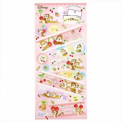 小禮堂 迪士尼 奇奇蒂蒂 日製 貼紙 裝飾貼紙 黏貼用品 卡片裝飾 (粉 櫻桃)