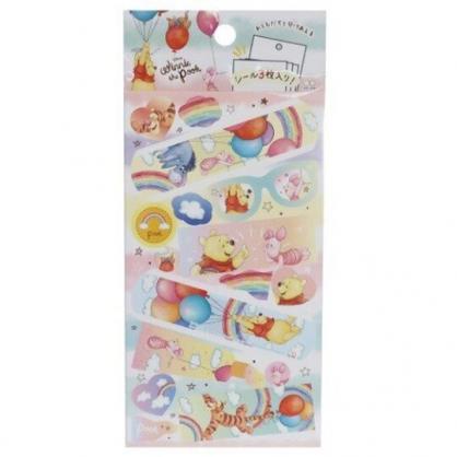 小禮堂 迪士尼 小熊維尼 日製 貼紙 裝飾貼紙 黏貼用品 卡片裝飾 (黃 彩虹)