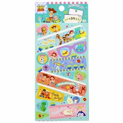 小禮堂 迪士尼 玩具總動員 日製 貼紙 裝飾貼紙 黏貼用品 卡片裝飾 (綠 Q版)