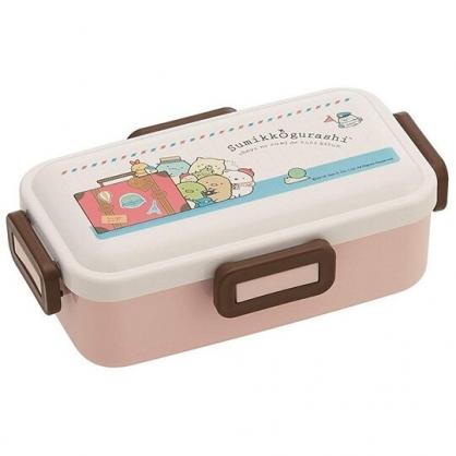 小禮堂 角落生物 日製 便當盒 方形塑膠 四扣 保鮮盒 餐盒 食物盒 530ml (粉米 行李箱)