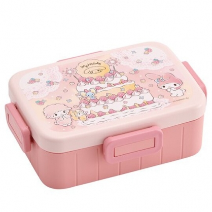 小禮堂 美樂蒂 日製 便當盒 方形塑膠 四扣 保鮮盒 餐盒 食物盒 650ml (粉 蛋糕)