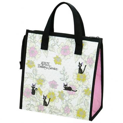 小禮堂 宮崎駿 魔女宅急便 手提袋 不織布 方形 便當袋 保冷袋 野餐袋 購物袋 (黑粉 花朵)