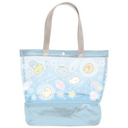 小禮堂 角落生物 透明海灘袋 雙層 游泳袋 水桶袋 側背袋 防水提袋 泳具袋 (藍 海底)