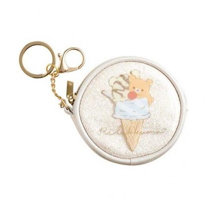 小禮堂 懶懶熊 零錢包 防水 圓形 收納包 化妝包 小物包 掛飾 (米 冰淇淋)