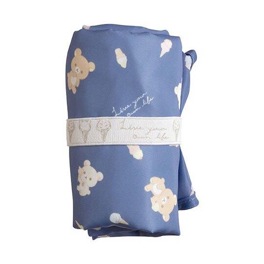 小禮堂 懶懶熊 折疊環保購物袋 尼龍 環保袋 手提袋 側背袋 (藍 冰淇淋)