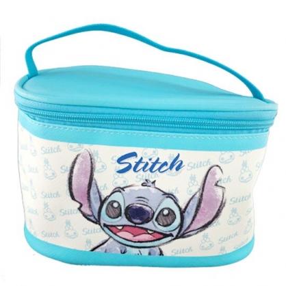 小禮堂 迪士尼 史迪奇 手提化妝包 皮質 方形 盥洗包 化妝箱 收納包 手提包 (藍米 大臉)