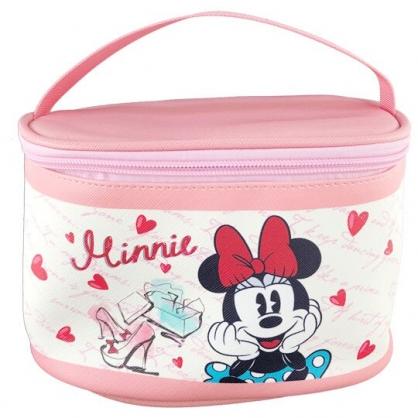 小禮堂 迪士尼 米妮 手提化妝包 皮質 方形 盥洗包 化妝箱 收納包 手提包 (粉米 愛心)