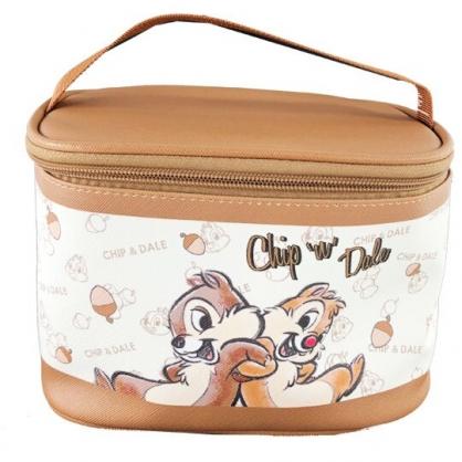 小禮堂 迪士尼 奇奇蒂蒂 手提化妝包 皮質 方形 盥洗包 化妝箱 收納包 手提包 (米棕 松果)