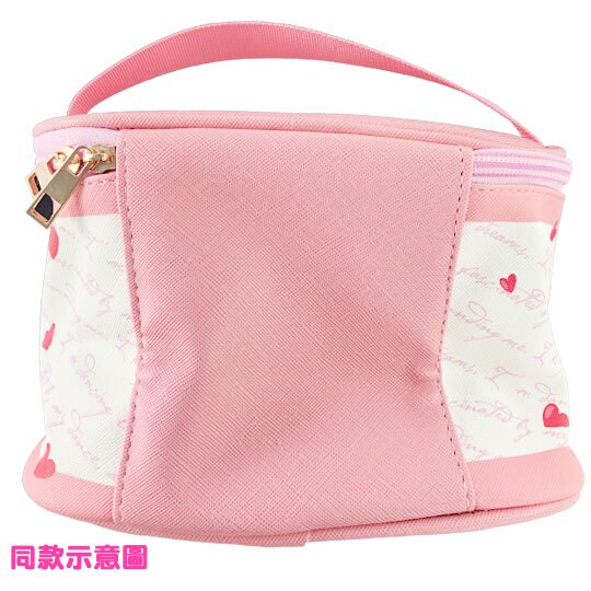 小禮堂 迪士尼 小熊維尼 手提化妝包 皮質 方形 盥洗包 化妝箱 收納包 手提包 (黃米 愛心)