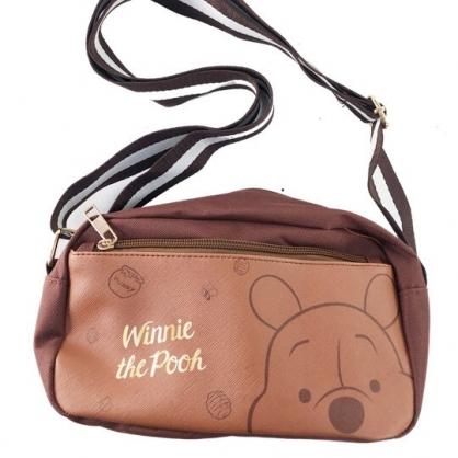 小禮堂 迪士尼 小熊維尼 斜背包 尼龍 方形 雙層 隨身包 小方包 側背包 (棕 大臉)