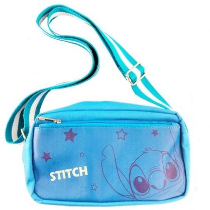 小禮堂 迪士尼 史迪奇 斜背包 尼龍 方形 雙層 隨身包 小方包 側背包 (藍 大臉)