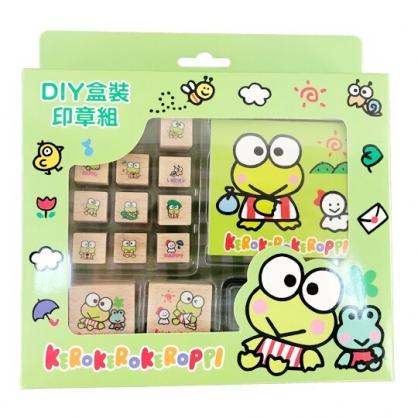 小禮堂 大眼蛙 印章組 木製 玩具章 橡皮章 手帳印章 裝飾印章 便條本 附印泥 (綠 朋友)