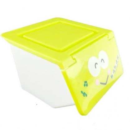 小禮堂 大眼蛙 迷你 收納盒 塑膠 前開式  置物盒 文具盒 飾品盒 小物收納 可堆疊 (綠 大臉)