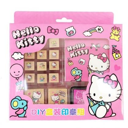 小禮堂 Hello Kitty 印章組 木製 玩具章 橡皮章 手帳印章 裝飾印章 便條本 附印泥 (粉 看書)
