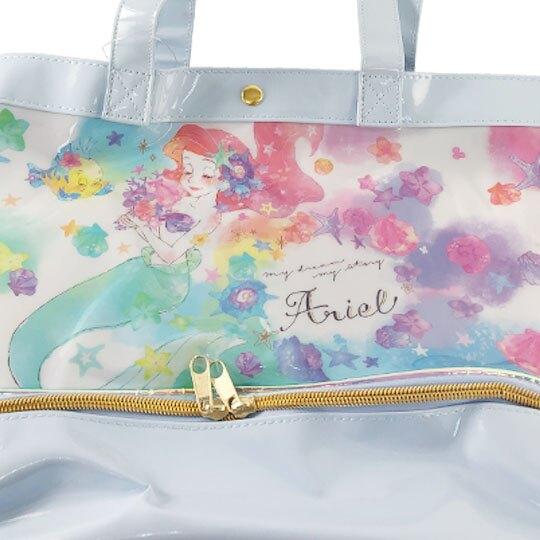 小禮堂 迪士尼 小美人魚 透明海灘袋 雙層 游泳袋 水桶袋 側背袋 防水提袋 泳具袋 (藍 閉眼)