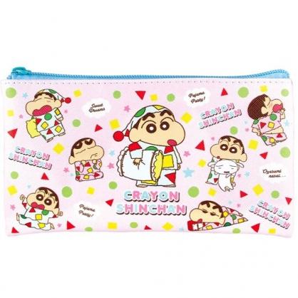 小禮堂 蠟筆小新 拉鍊筆袋 皮質 扁平 化妝包 收納包 鉛筆盒 (粉綠 睡衣)