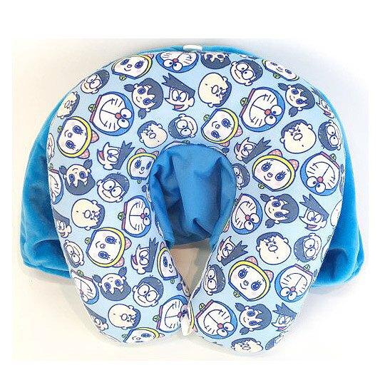 小禮堂 哆啦A夢 U型頸枕 絨毛 連帽式 午安枕 抱枕 靠枕 護頸枕 旅行枕 (藍白 大臉)
