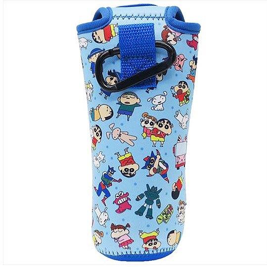 小禮堂 蠟筆小新 水壺袋 水壺套 潛水布 環保杯袋 水瓶袋 500ml (藍 朋友)