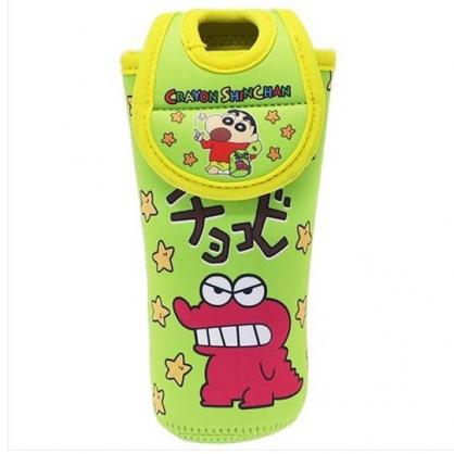 小禮堂 蠟筆小新 水壺袋 水壺套 潛水布 環保杯袋 水瓶袋 500ml (綠 鱷魚)
