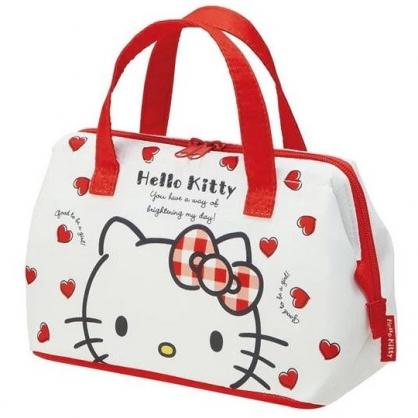 小禮堂 Hello Kitty 便當袋 尼龍 手提袋 保冷袋 野餐袋 硬式支架 (紅白 愛心)