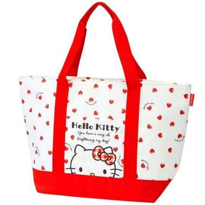 小禮堂 Hello Kitty 側背袋 尼龍 橫式 保冷袋 肩背袋 野餐袋 (紅白 愛心)