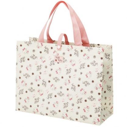 小禮堂 Hello Kitty 不織布購物袋 橫式方形 手提袋 環保袋 肩背袋  (粉米 滿版)