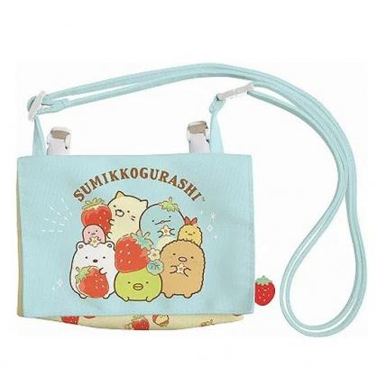 小禮堂 角落生物 口袋包 帆布 化妝包 收納包 腰包 零錢包 兒童斜背包 (綠紅 草莓)