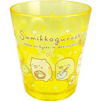 小禮堂 角落生物 日製 塑膠杯 透明 無把 兒童水杯 壓克力杯 漱口杯 270ml  (黃 吹泡泡)