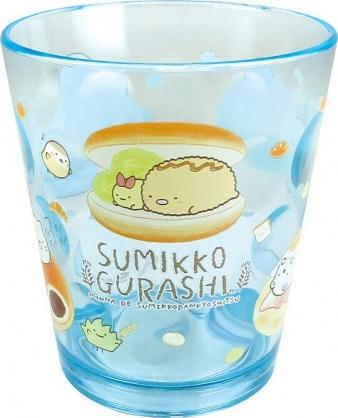 小禮堂 角落生物 日製 塑膠杯 透明 無把 兒童水杯 壓克力杯 漱口杯 270ml  (藍 麵包)