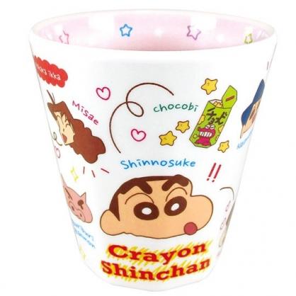 小禮堂 蠟筆小新 日製 美耐皿杯 無把 兒童水杯 塑膠杯 漱口杯 270ml  (白 角色)