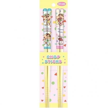 小禮堂 蠟筆小新 木筷 竹筷 筷子 環保筷 兒童餐具 21cm (2入 粉綠 睡衣)